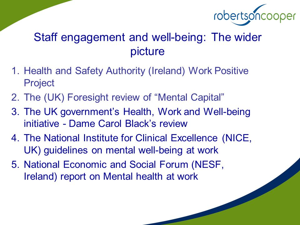 "Staff engagement and well-being: The wider picture 1.Health and Safety Authority (Ireland) Work Positive Project 2.The (UK) Foresight review of ""Menta"