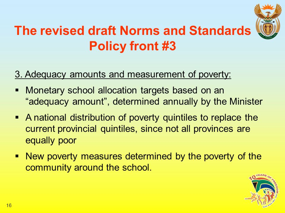 16 The revised draft Norms and Standards Policy front #3 3.