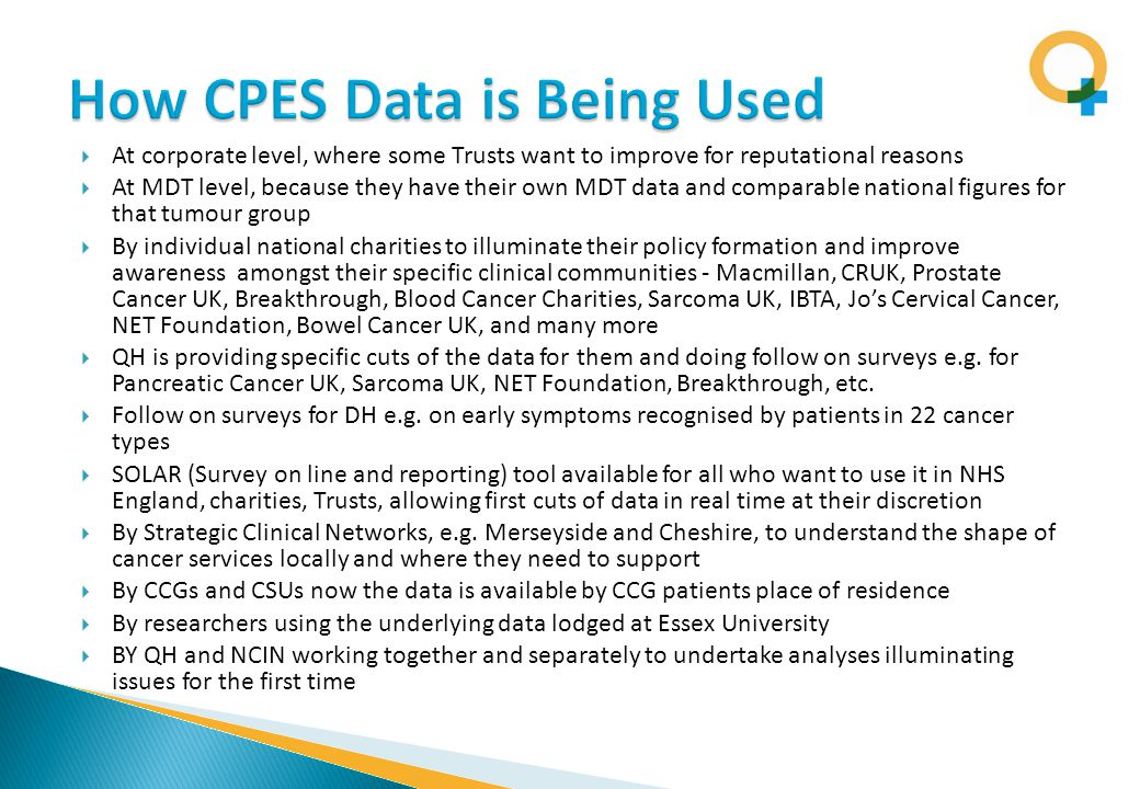  At corporate level, where some Trusts want to improve for reputational reasons  At MDT level, because they have their own MDT data and comparable national figures for that tumour group  By individual national charities to illuminate their policy formation and improve awareness amongst their specific clinical communities - Macmillan, CRUK, Prostate Cancer UK, Breakthrough, Blood Cancer Charities, Sarcoma UK, IBTA, Jo's Cervical Cancer, NET Foundation, Bowel Cancer UK, and many more  QH is providing specific cuts of the data for them and doing follow on surveys e.g.