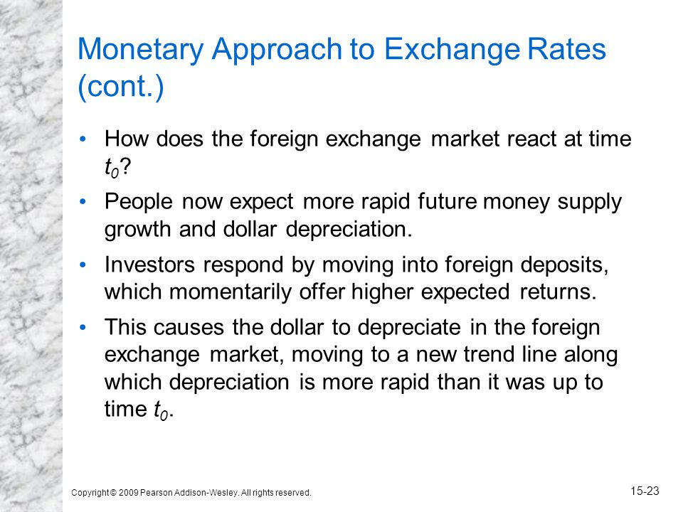 Copyright © 2009 Pearson Addison-Wesley. All rights reserved. 15-23 Monetary Approach to Exchange Rates (cont.) How does the foreign exchange market r