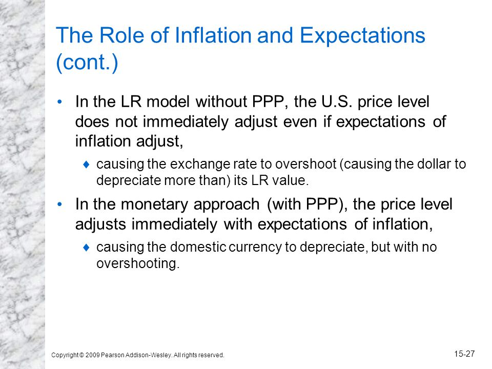 Copyright © 2009 Pearson Addison-Wesley. All rights reserved. 15-27 The Role of Inflation and Expectations (cont.) In the LR model without PPP, the U.