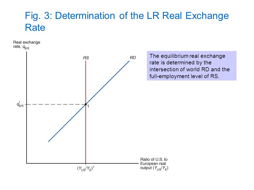 Fig. 3: Determination of the LR Real Exchange Rate The equilibrium real exchange rate is determined by the intersection of world RD and the full-emplo