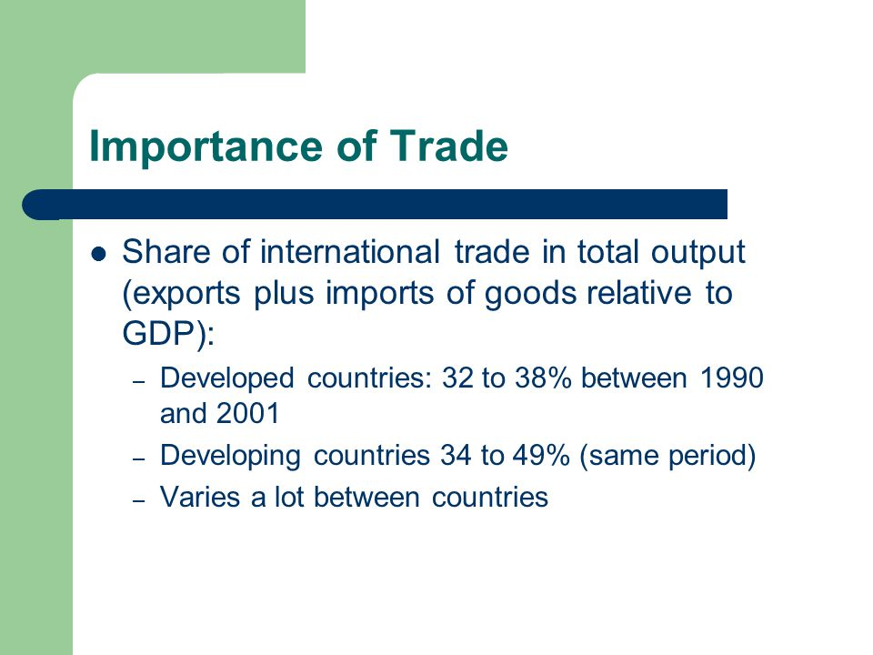 Importance of Trade Share of international trade in total output (exports plus imports of goods relative to GDP): – Developed countries: 32 to 38% between 1990 and 2001 – Developing countries 34 to 49% (same period) – Varies a lot between countries