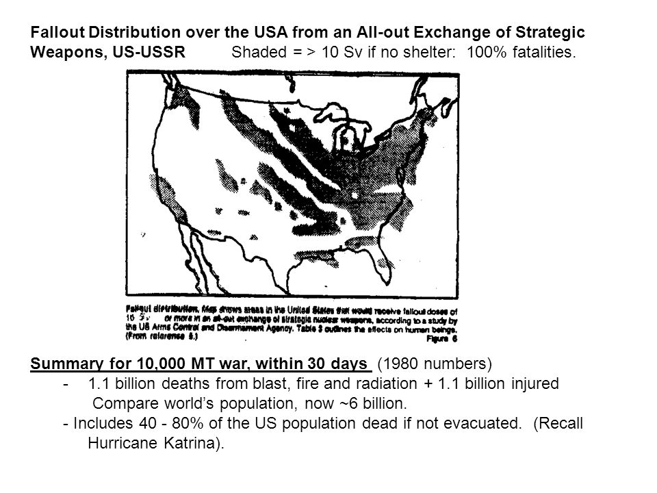 Fallout Distribution over the USA from an All-out Exchange of Strategic Weapons, US-USSR Shaded = > 10 Sv if no shelter: 100% fatalities. Summary for