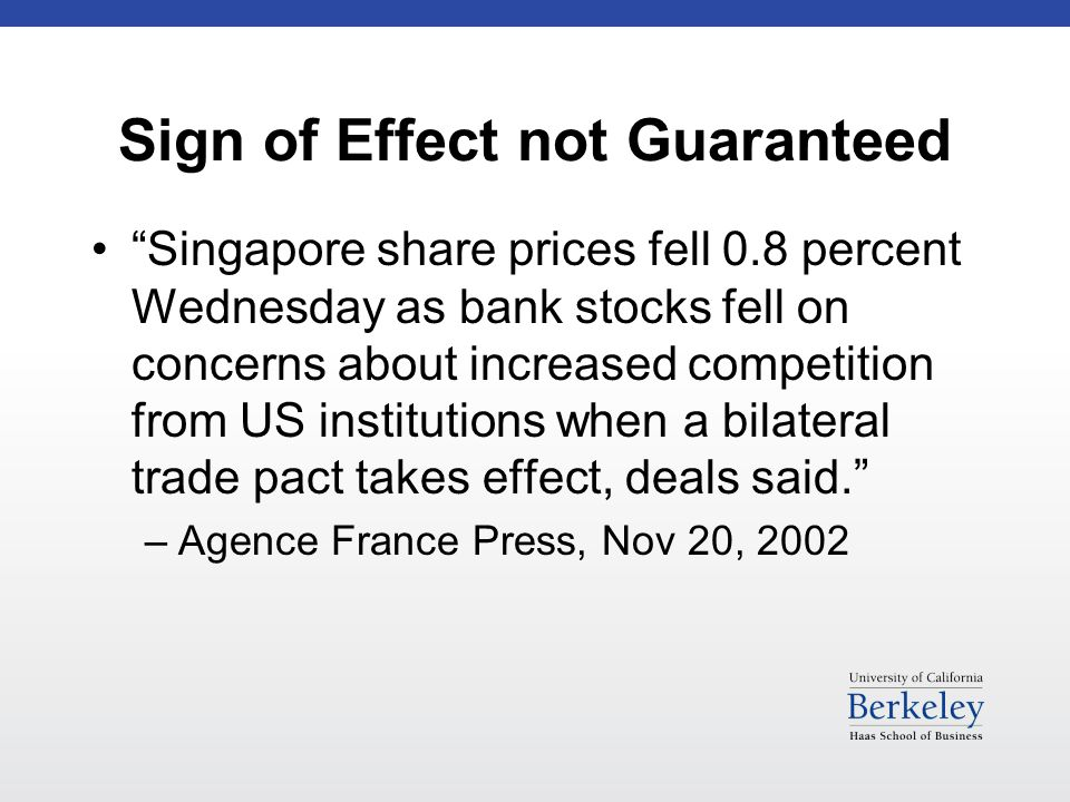 Sign of Effect not Guaranteed Singapore share prices fell 0.8 percent Wednesday as bank stocks fell on concerns about increased competition from US institutions when a bilateral trade pact takes effect, deals said. –Agence France Press, Nov 20, 2002