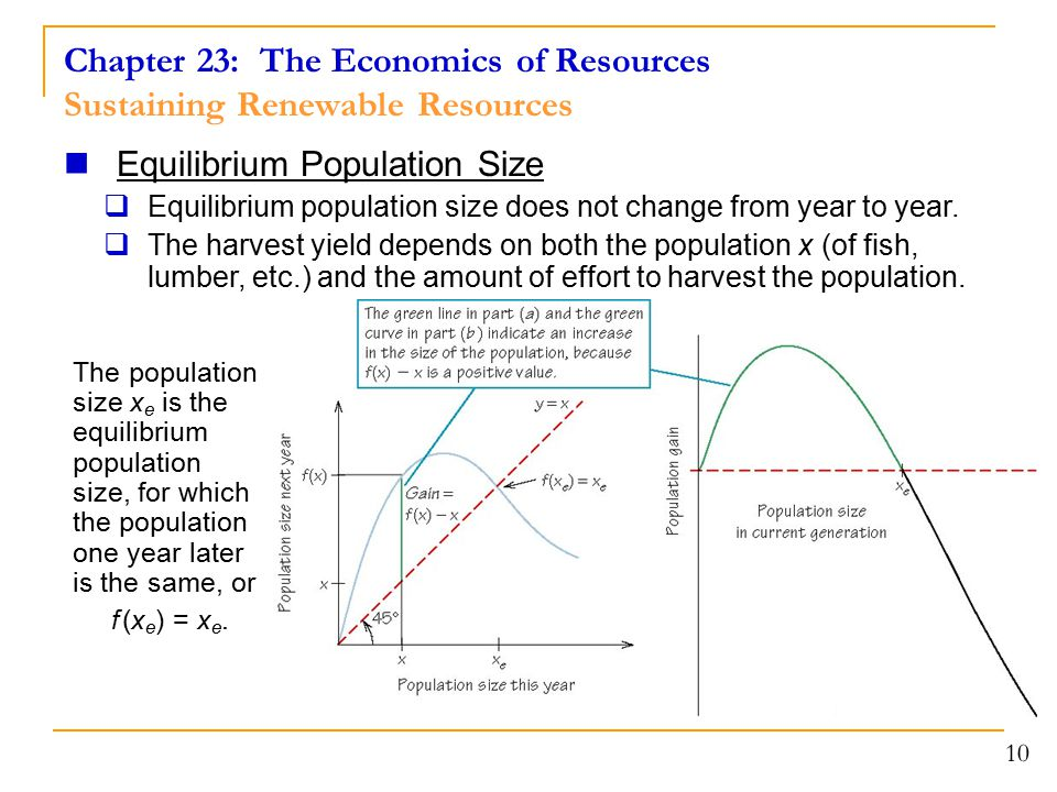 Chapter 23: The Economics of Resources Sustaining Renewable Resources 10 Equilibrium Population Size  Equilibrium population size does not change fro