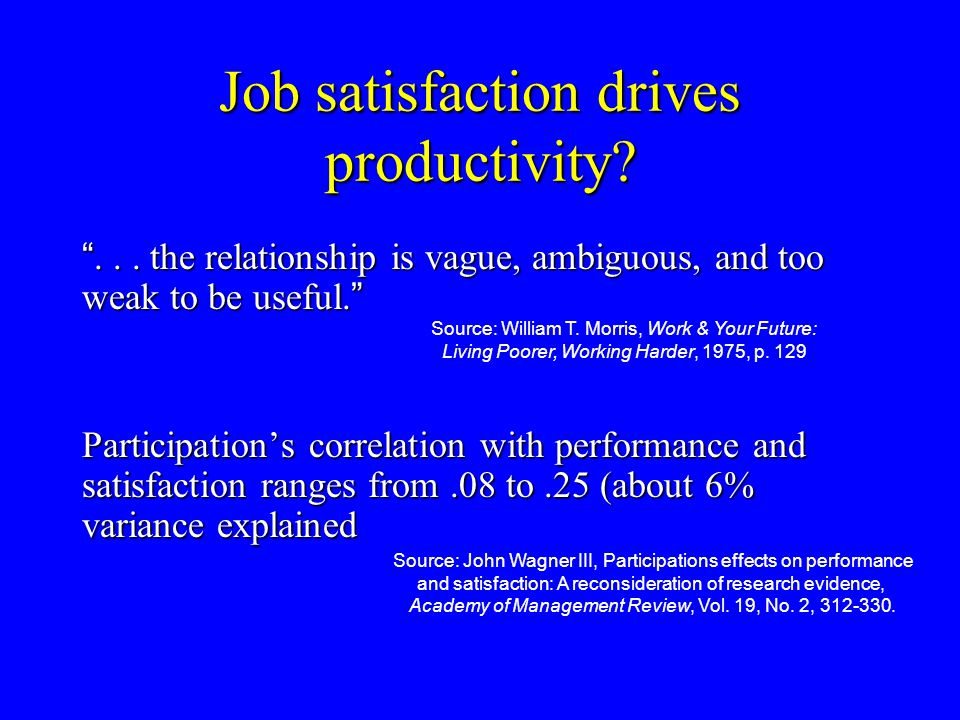 "Job satisfaction drives productivity? ""... the relationship is vague, ambiguous, and too weak to be useful. "" Participation's correlation with perform"
