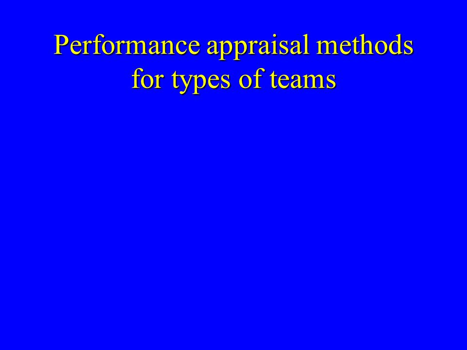 Performance appraisal methods for types of teams