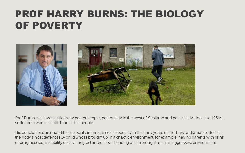 PROF HARRY BURNS: THE BIOLOGY OF POVERTY Prof Burns has investigated why poorer people, particularly in the west of Scotland and particularly since th