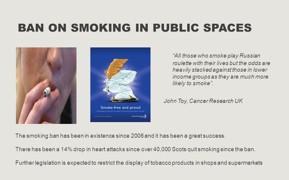 """BAN ON SMOKING IN PUBLIC SPACES """"All those who smoke play Russian roulette with their lives but the odds are heavily stacked against those in lower in"""