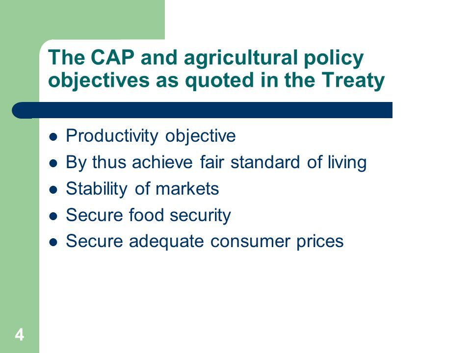 5 Message 1 The Common Agricultural Policy has not achieved the main agricultural policy objectives as laid down in the Treaty