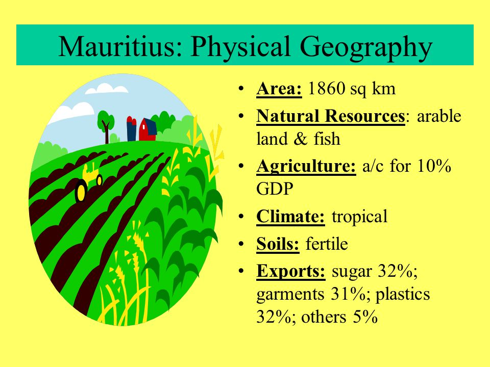 Mauritius: Population Change Population 1992: 1,094,000 2025: 1,365,000 Growth Rate: 1.45% Pop doubling time: 47 years Fertility Rate: 2.17 children