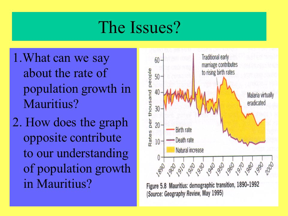 Mauritius: Physical Geography Area: 1860 sq km Natural Resources: arable land & fish Agriculture: a/c for 10% GDP Climate: tropical Soils: fertile Exports: sugar 32%; garments 31%; plastics 32%; others 5%