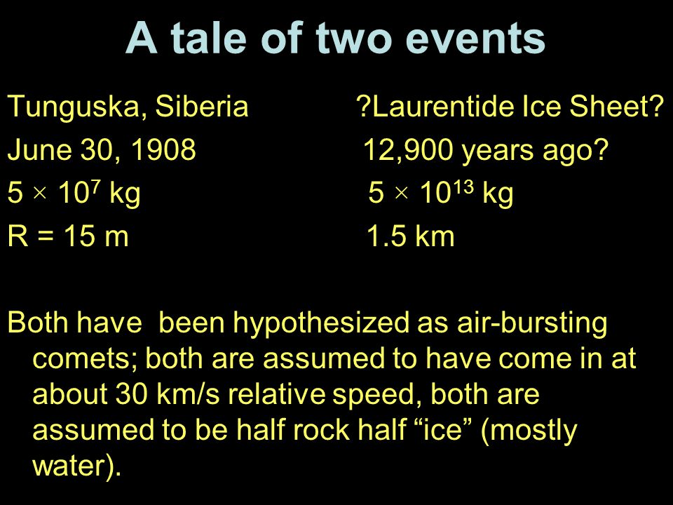 A tale of two events Tunguska, Siberia Laurentide Ice Sheet.