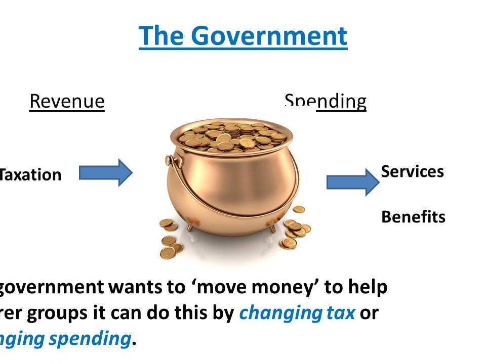 The Government Revenue Spending Services Benefits Taxation If a government wants to 'move money' to help poorer groups it can do this by changing tax or changing spending.