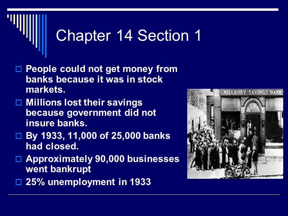 Chapter 14 Section 1  European countries suffered due to WW1 costs  Americans could buy less so harder for Europeans to get out of debt  Causes of Depression – 1.) Tarriffs cut down foreign market for American goods.
