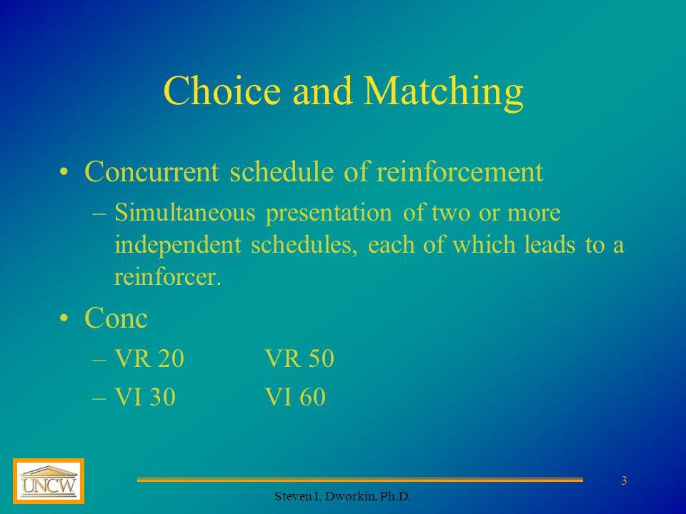 Steven I.Dworkin, Ph.D. 4 The Matching Law Hernstein's 1961 Concurrent VI schedules (eg.