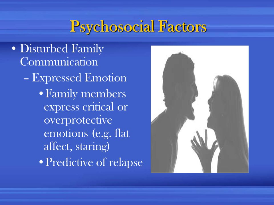 Psychosocial Factors Disturbed Family Communication –Expressed Emotion Family members express critical or overprotective emotions (e.g.