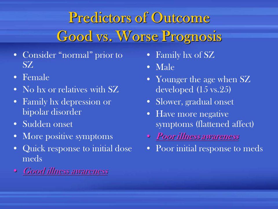 Predictors of Outcome Good vs.