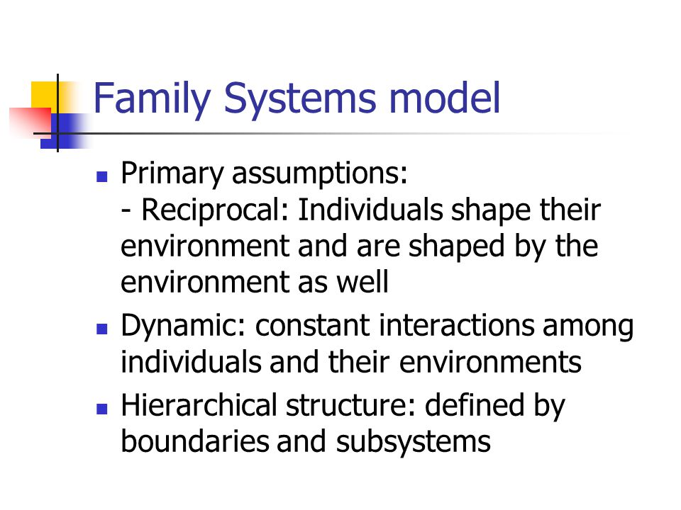 Family Systems model Primary assumptions: - Reciprocal: Individuals shape their environment and are shaped by the environment as well Dynamic: constant interactions among individuals and their environments Hierarchical structure: defined by boundaries and subsystems