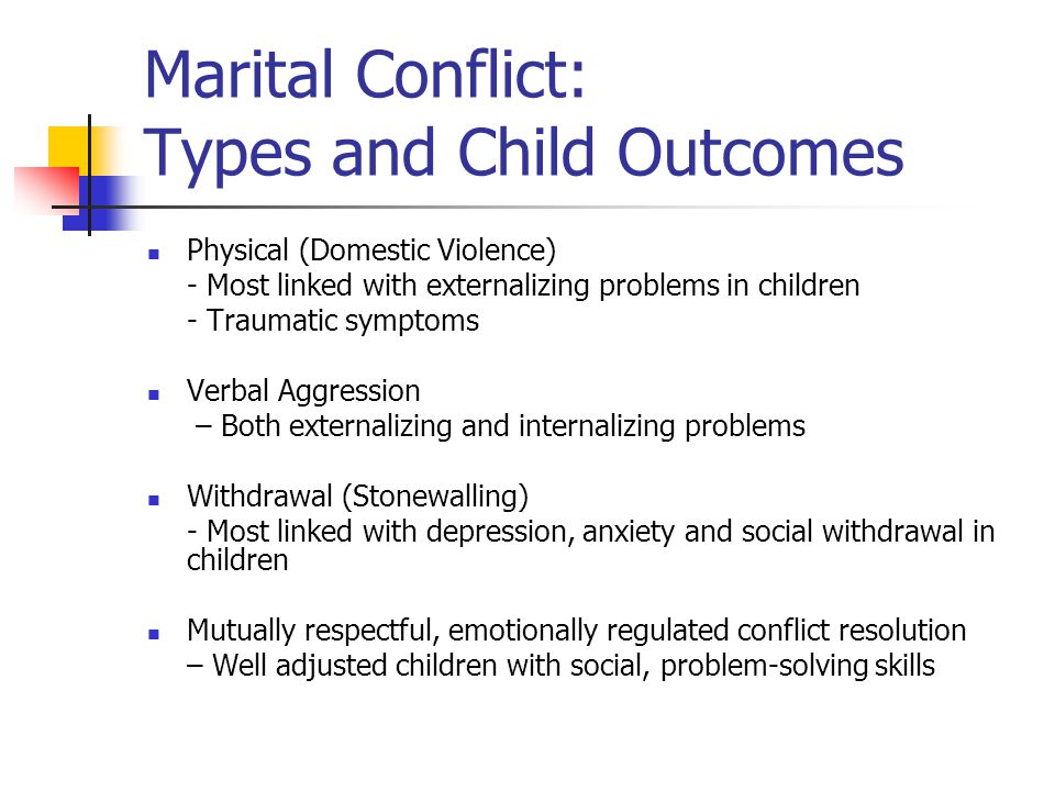 Marital Conflict: Types and Child Outcomes Physical (Domestic Violence) - Most linked with externalizing problems in children - Traumatic symptoms Verbal Aggression – Both externalizing and internalizing problems Withdrawal (Stonewalling) - Most linked with depression, anxiety and social withdrawal in children Mutually respectful, emotionally regulated conflict resolution – Well adjusted children with social, problem-solving skills