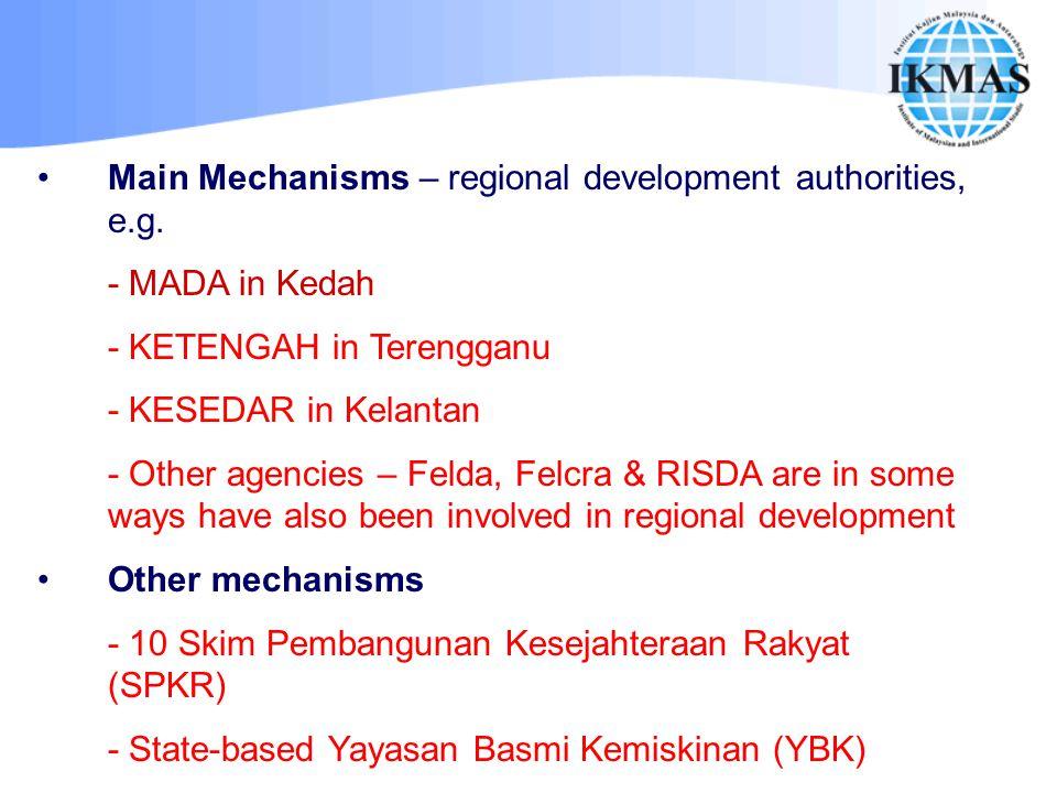 Main Mechanisms – regional development authorities, e.g.