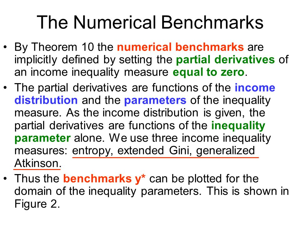 The Numerical Benchmarks By Theorem 10 the numerical benchmarks are implicitly defined by setting the partial derivatives of an income inequality measure equal to zero.