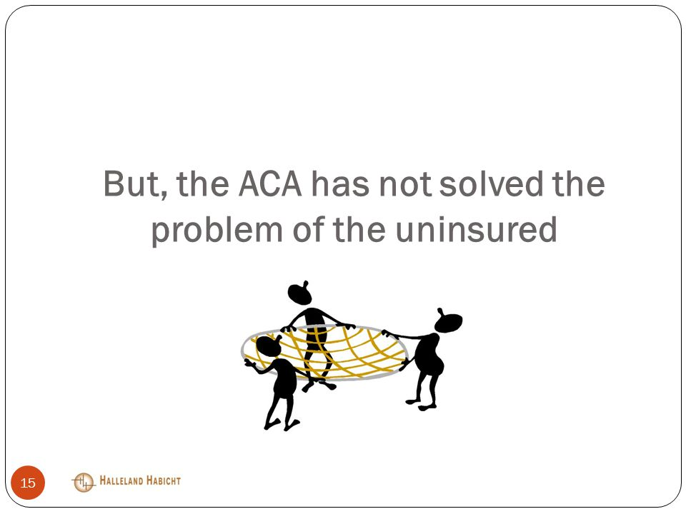 But, the ACA has not solved the problem of the uninsured 15