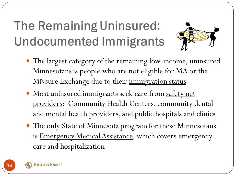 The Remaining Uninsured: Undocumented Immigrants The largest category of the remaining low-income, uninsured Minnesotans is people who are not eligible for MA or the MNsure Exchange due to their immigration status Most uninsured immigrants seek care from safety net providers: Community Health Centers, community dental and mental health providers, and public hospitals and clinics The only State of Minnesota program for these Minnesotans is Emergency Medical Assistance, which covers emergency care and hospitalization 19