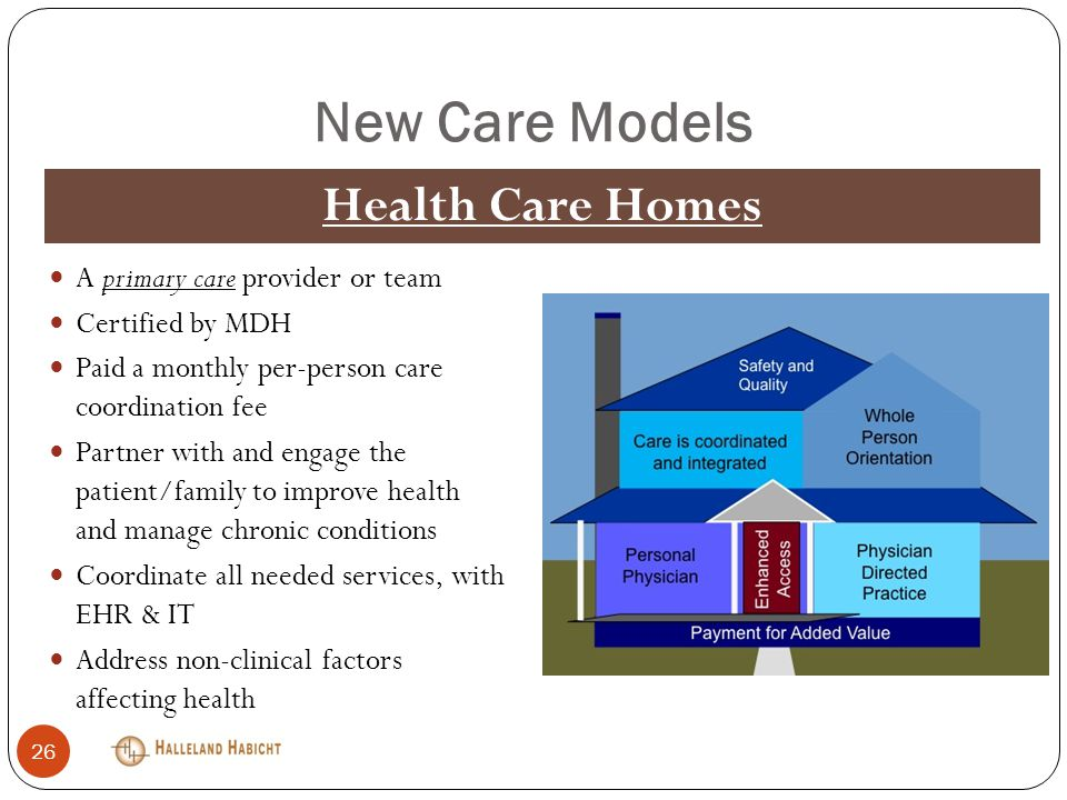 New Care Models A primary care provider or team Certified by MDH Paid a monthly per-person care coordination fee Partner with and engage the patient/family to improve health and manage chronic conditions Coordinate all needed services, with EHR & IT Address non-clinical factors affecting health Health Care Homes 26