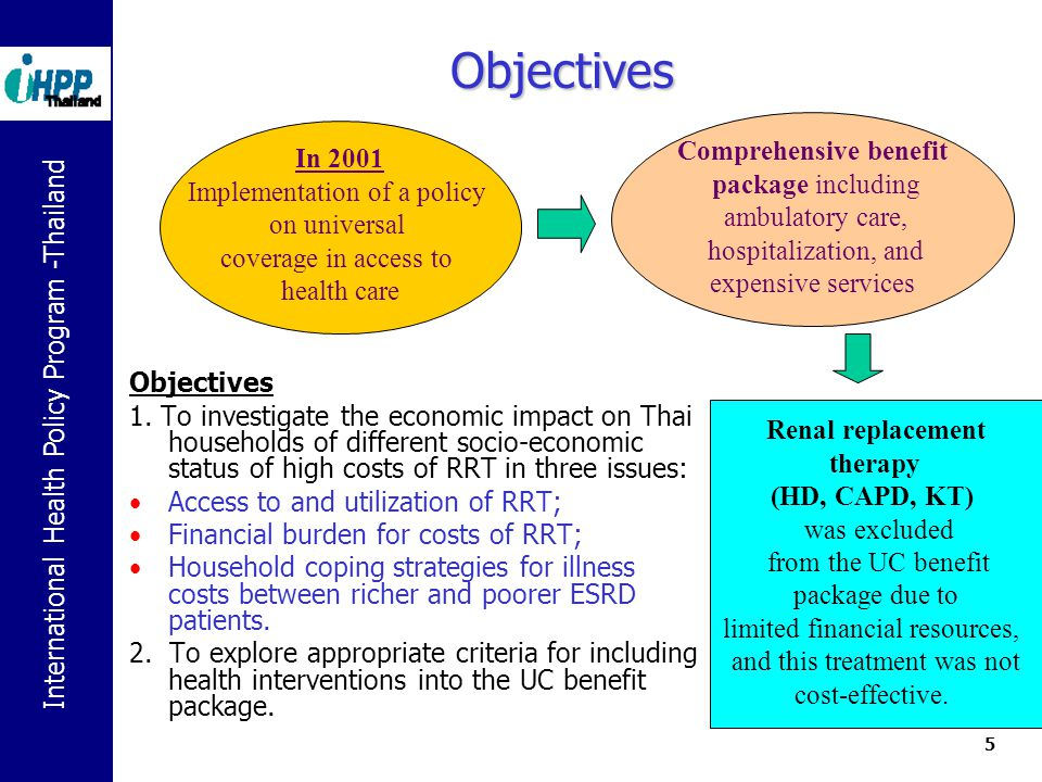 International Health Policy Program -Thailand 5 Objectives In 2001 Implementation of a policy on universal coverage in access to health care Comprehensive benefit package including ambulatory care, hospitalization, and expensive services Objectives 1.