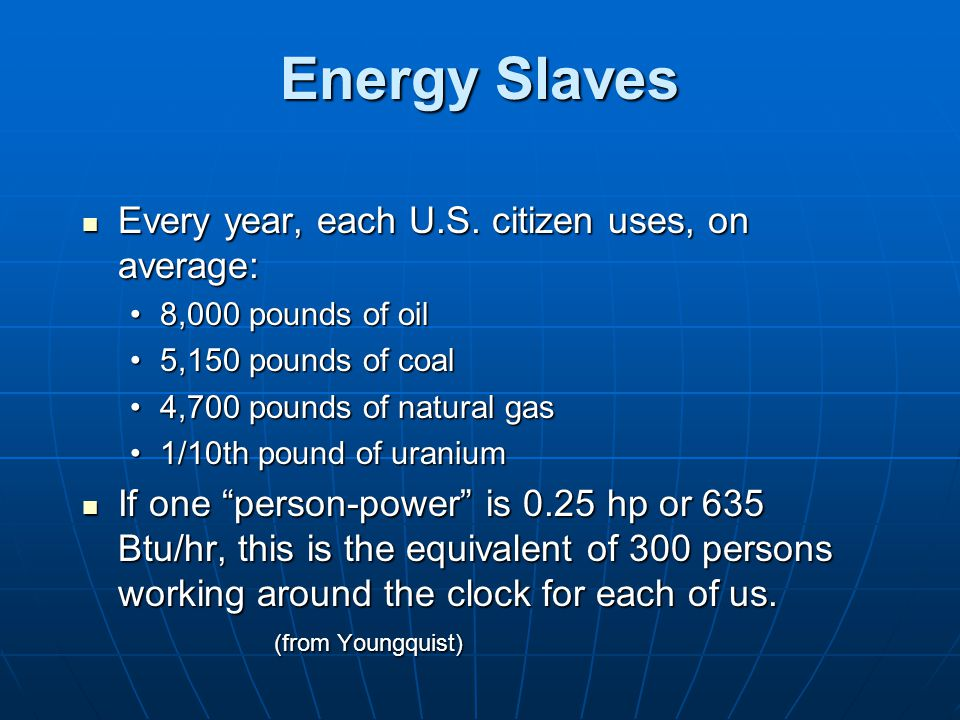 Energy Slaves Every year, each U.S. citizen uses, on average: Every year, each U.S.