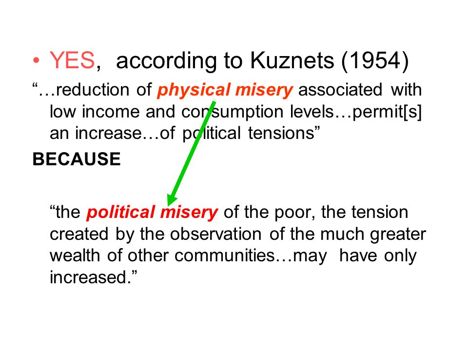 "YES, according to Kuznets (1954) ""…reduction of physical misery associated with low income and consumption levels…permit[s] an increase…of political t"