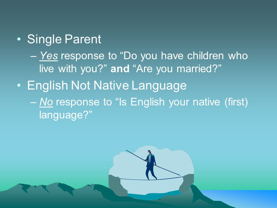 Single Parent –Yes response to Do you have children who live with you and Are you married English Not Native Language –No response to Is English your native (first) language