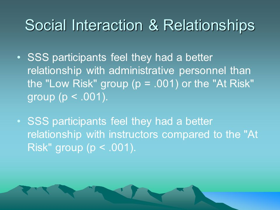 Social Interaction & Relationships SSS participants feel they had a better relationship with administrative personnel than the Low Risk group (p =.001) or the At Risk group (p <.001).