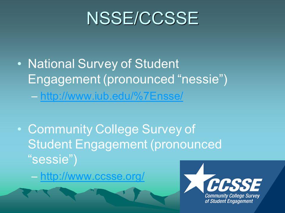 NSSE/CCSSE National Survey of Student Engagement (pronounced nessie ) –http://www.iub.edu/%7Ensse/http://www.iub.edu/%7Ensse/ Community College Survey of Student Engagement (pronounced sessie ) –http://www.ccsse.org/http://www.ccsse.org/