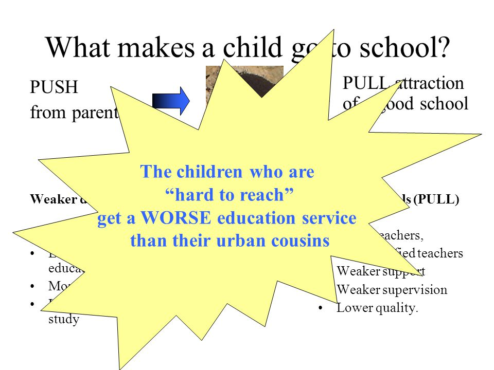What makes a child go to school.