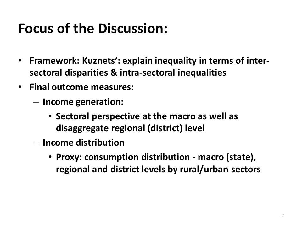 Inequality Measures Shortcomings of GDP can be addressed in part by considering inequality Common measures of inequality – Distribution of Y by Decile or Quintile – Gini Coefficient most commonly used summary statistic for inequality – Functional distribution of income