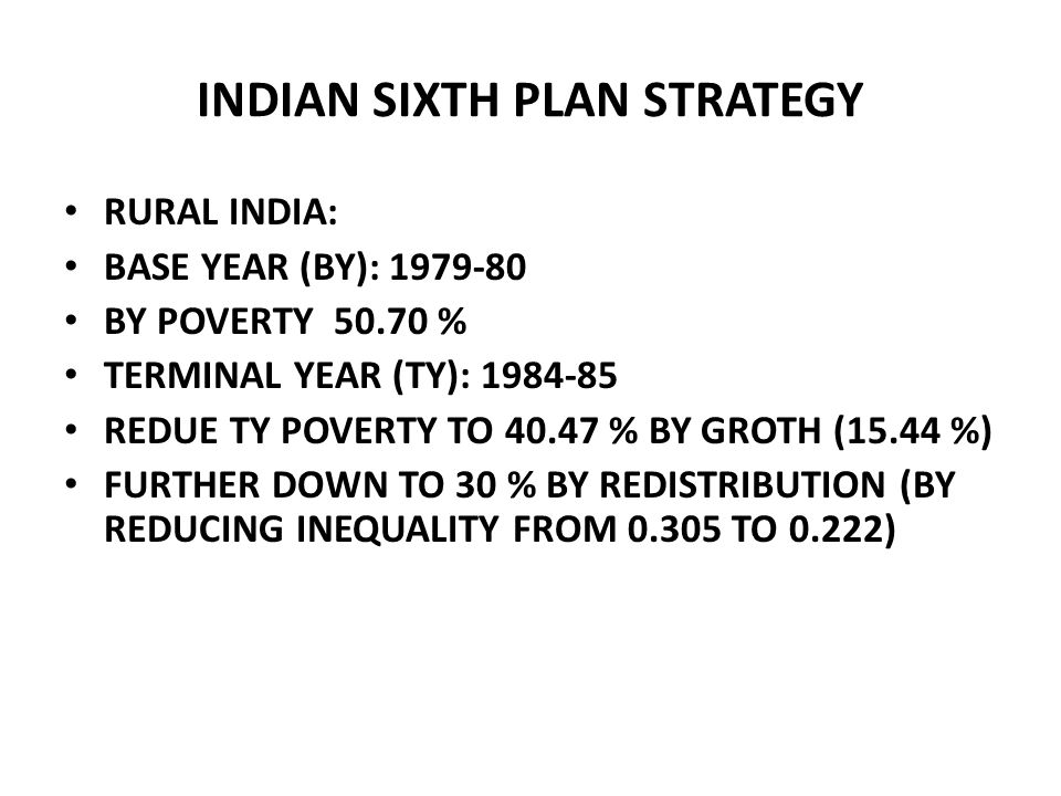 INDIAN SIXTH PLAN STRATEGY RURAL INDIA: BASE YEAR (BY): 1979-80 BY POVERTY 50.70 % TERMINAL YEAR (TY): 1984-85 REDUE TY POVERTY TO 40.47 % BY GROTH (1