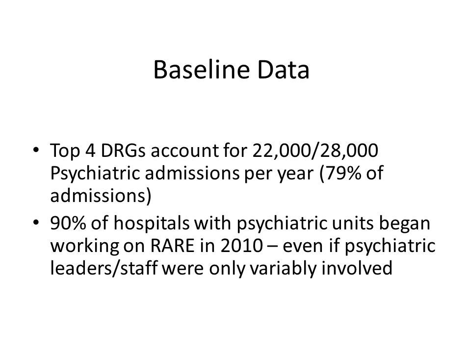 Baseline Data Top 4 DRGs account for 22,000/28,000 Psychiatric admissions per year (79% of admissions) 90% of hospitals with psychiatric units began working on RARE in 2010 – even if psychiatric leaders/staff were only variably involved