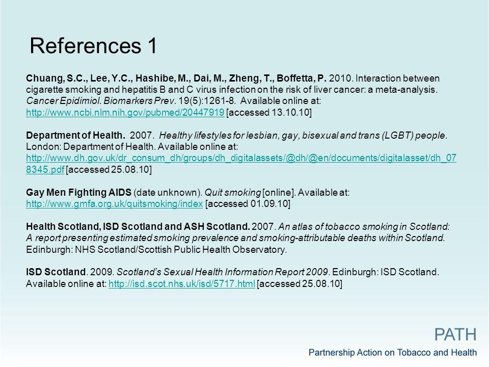 References 1 Chuang, S.C., Lee, Y.C., Hashibe, M., Dai, M., Zheng, T., Boffetta, P.