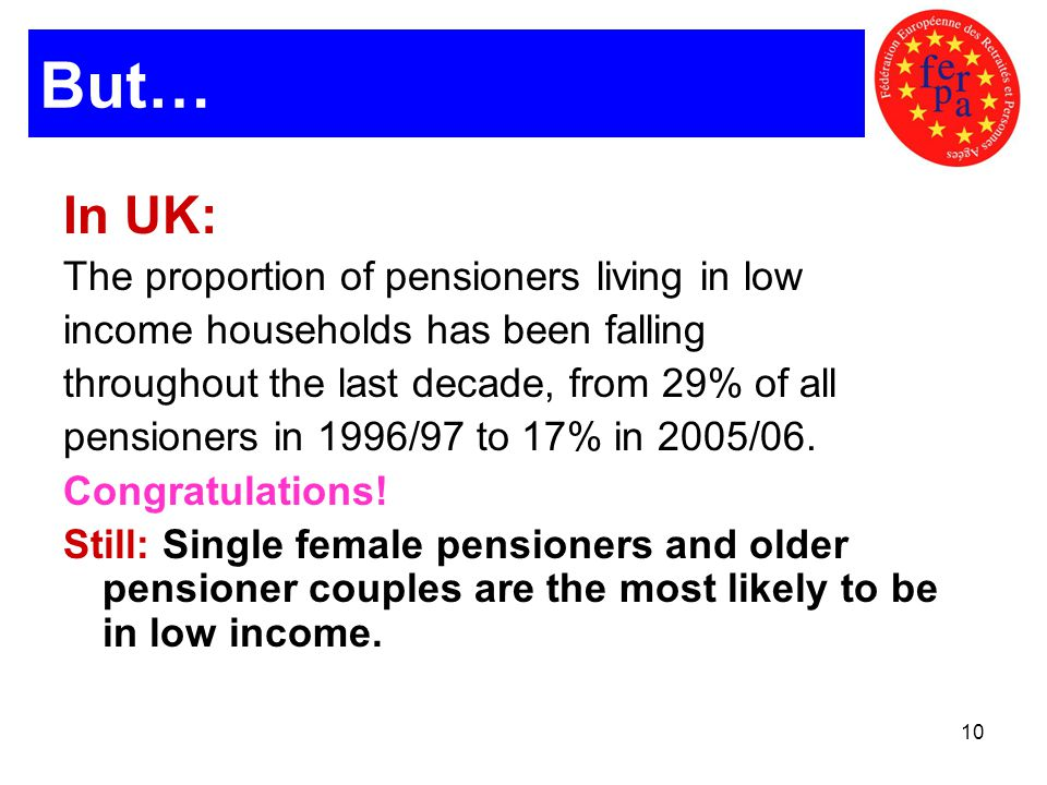 10 But… In UK: The proportion of pensioners living in low income households has been falling throughout the last decade, from 29% of all pensioners in 1996/97 to 17% in 2005/06.