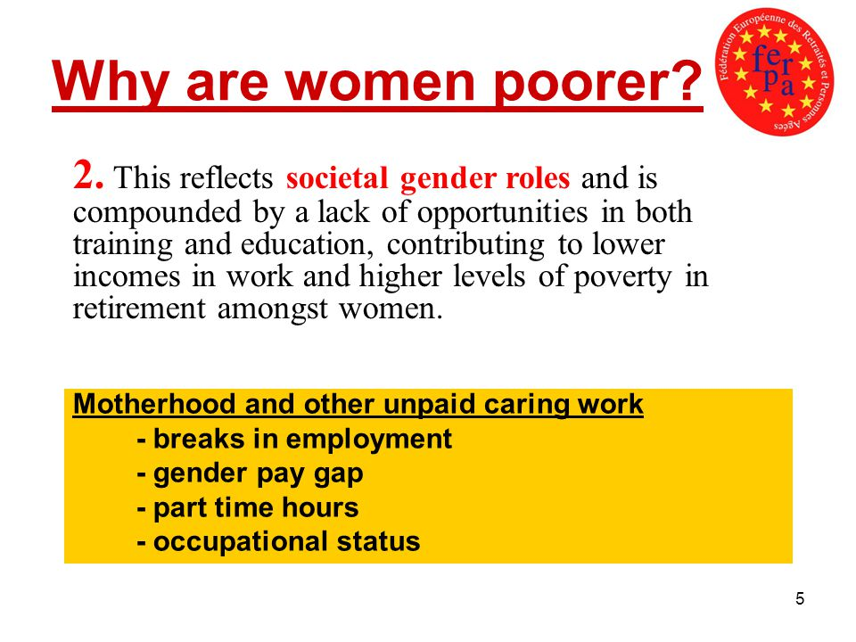 5 Why are women poorer? Motherhood and other unpaid caring work - breaks in employment - gender pay gap - part time hours - occupational status 2. Thi