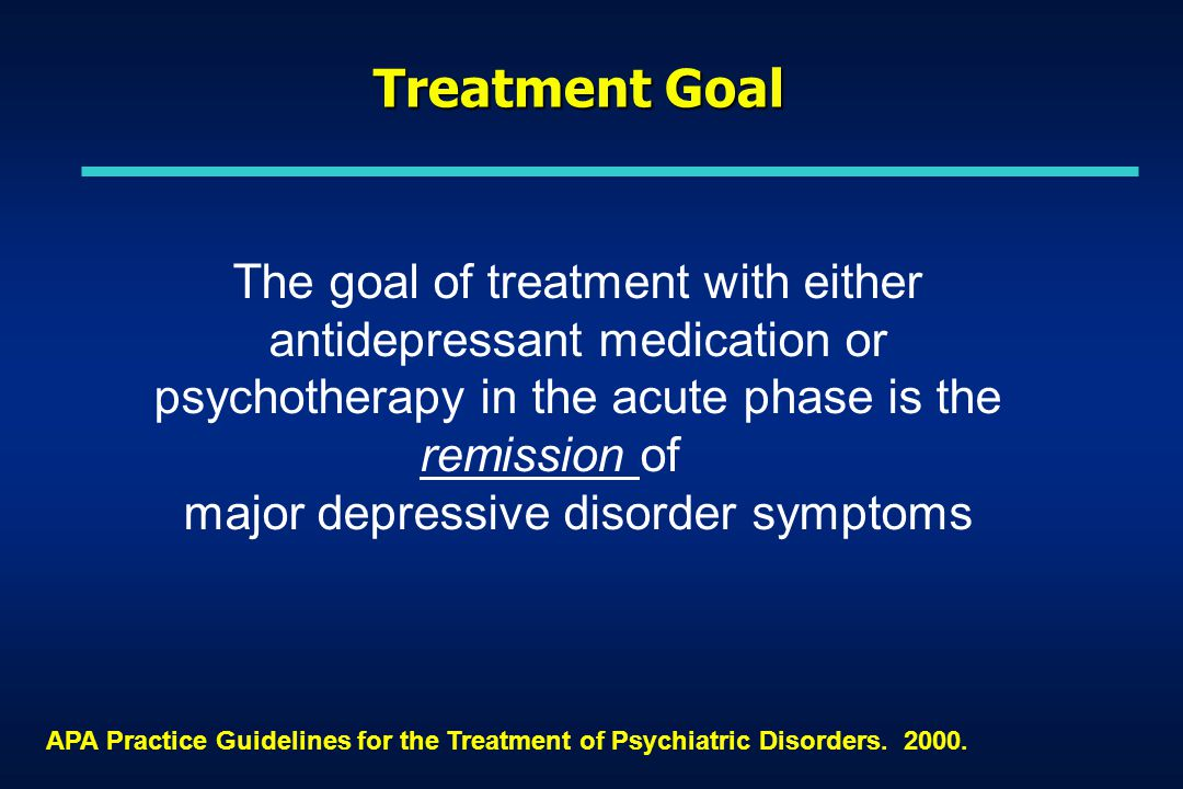 APA Practice Guidelines for the Treatment of Psychiatric Disorders.
