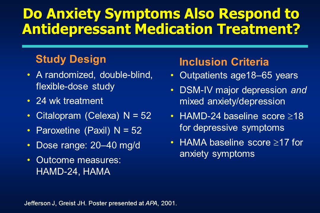 Do Anxiety Symptoms Also Respond to Antidepressant Medication Treatment.