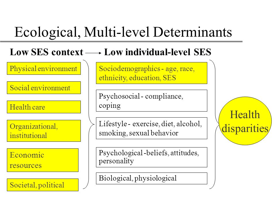 Ecological, Multi-level Determinants Psychosocial - compliance, coping Lifestyle - exercise, diet, alcohol, smoking, sexual behavior Health care Sociodemographics - age, race, ethnicity, education, SES Physical environment Social environment Biological, physiological Low SES contextLow individual-level SES Organizational, institutional Economic resources Societal, political Psychological -beliefs, attitudes, personality Health disparities