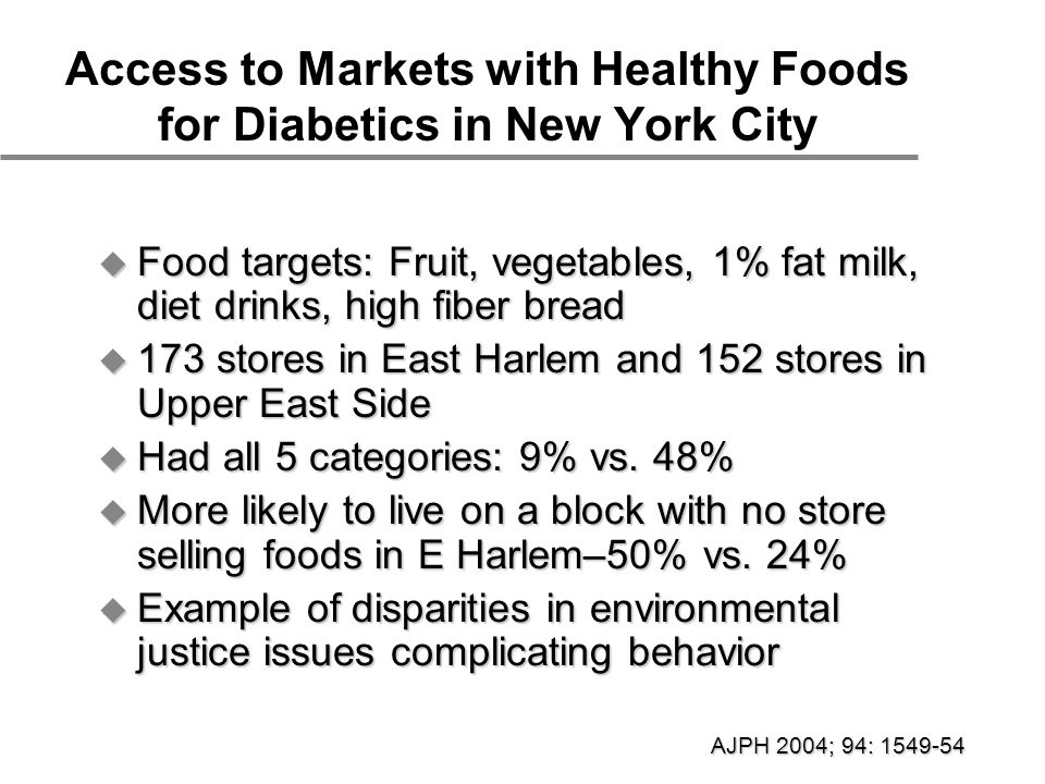 Access to Markets with Healthy Foods for Diabetics in New York City  Food targets: Fruit, vegetables, 1% fat milk, diet drinks, high fiber bread  173 stores in East Harlem and 152 stores in Upper East Side  Had all 5 categories: 9% vs.