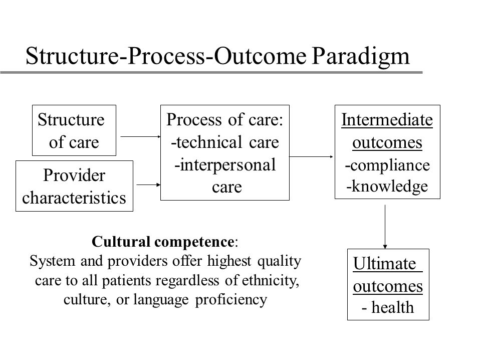 Structure-Process-Outcome Paradigm Ultimate outcomes - health Structure of care Process of care: -technical care -interpersonal care Intermediate outcomes - compliance -knowledge Provider characteristics Cultural competence: System and providers offer highest quality care to all patients regardless of ethnicity, culture, or language proficiency