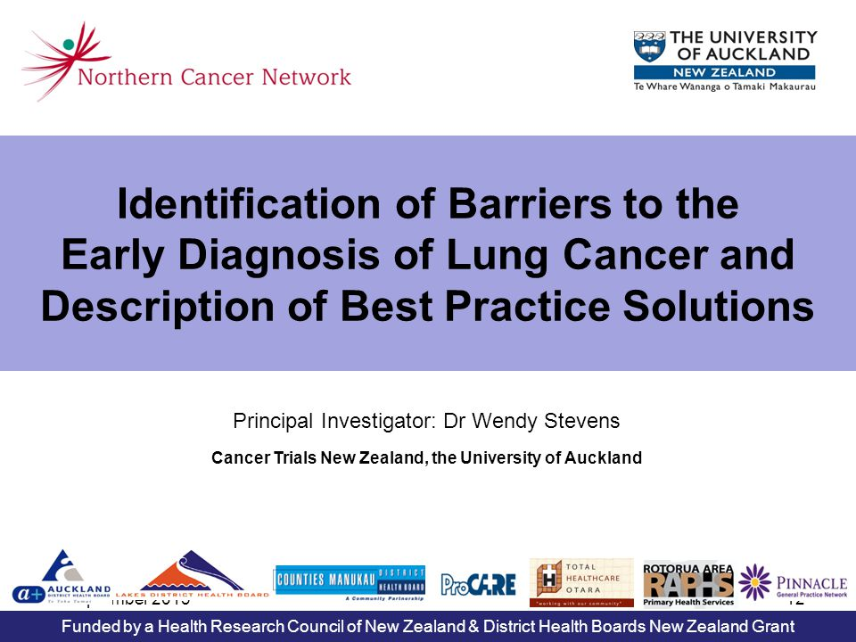 6 September 201312 Identification of Barriers to the Early Diagnosis of Lung Cancer and Description of Best Practice Solutions Principal Investigator: Dr Wendy Stevens Cancer Trials New Zealand, the University of Auckland Funded by a Health Research Council of New Zealand & District Health Boards New Zealand Grant