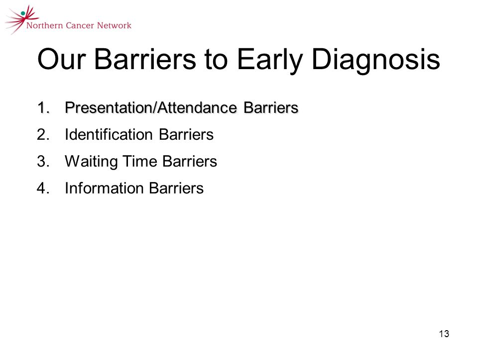 13 1.Presentation/Attendance Barriers 2.Identification Barriers 3.Waiting Time Barriers 4.Information Barriers Our Barriers to Early Diagnosis